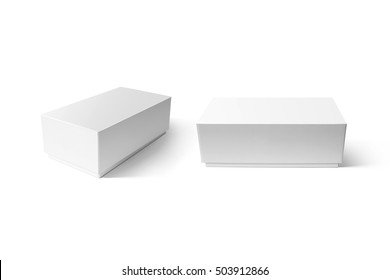 Plain white carton smart phone box mockup set, clipping path. Clear blank rectangular cardboard product case mock up. Simple closed shoe package template isolated. Smartphone store product pack.