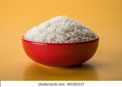Plain white cooked basmati rice in a ceramic bowl