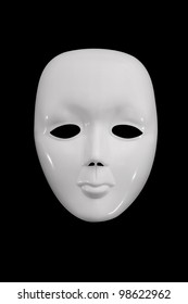 Plain white mask against a dark background.