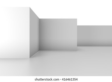 plain white wall background in a simple 3D Illustration