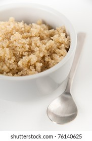 Plain Whole Grain Quinoa Cereal Served for Breakfast in White Bowl