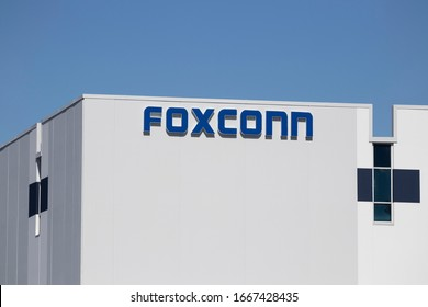 Plainfield - Circa March 2020: Foxconn manufacturing plant. Foxconn, also known as Hon Hai Precision Industry, contract manufactures for Apple, Microsoft, Amazon.com and Huawei.