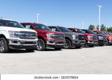 Plainfield - Circa September 2020: Ford F150 display at a dealership. Ford sells products under the Lincoln and Motorcraft brands.