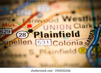 Plainfield. New Jersey. USA on a geography map