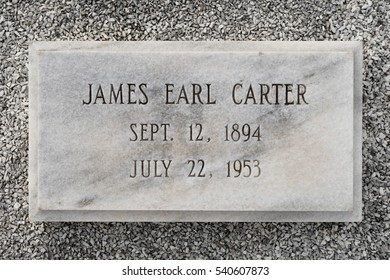 PLAINS, GEORGIA - NOVEMBER 12: James Earl Carter's (father of Jimmy Carter) grave at the Lebanon Cemetery on Old Plains Highway on November 12, 2016 in Plains, Georgia