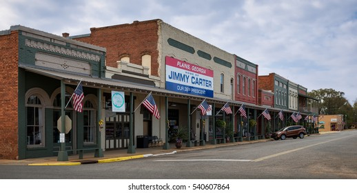 PLAINS, GEORGIA - NOVEMBER 13: Main Street in downtown Plains on November 13, 2016, in Plains, Georgia