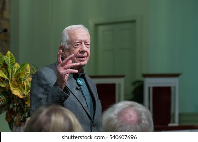 PLAINS, GEORGIA - NOVEMBER 13: President Jimmy Carter teaching adult Sunday School at the Maranatha Baptist Church on November 13, 2016 in Plains, Georgia