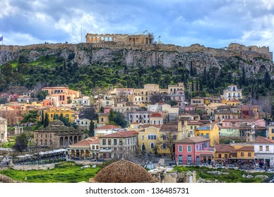 Plaka area and Acropolis in Athens,Greece