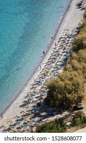 Plaka, Crete, Greece. October 2019, The narrow beach at Plaka in Eastern Crete on the Mirabella Sea.
