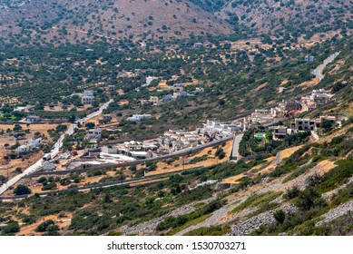 Plaka, Lisithi, Crete, Greece. October 2019.  Building development of new homes on the mountainside in Plaka, Crete.