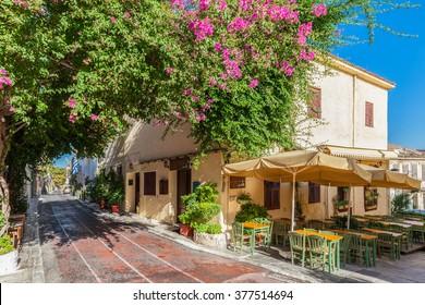 Plaka neighbourhood near Acropolis, Athens, Greece