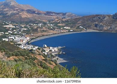 Plakias bay and beach at South Crete island, mediterranean sea, Greece.