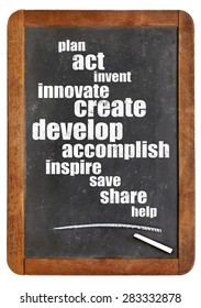 plan, act, create, inspire, share - cloud of positive and motivational words on an isolated vintage blackboard