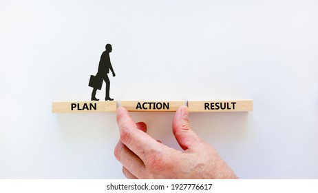 Plan, action, result symbol. Wooden blocks form the words 'plan, action, result' on beautiful white background. Businessman hand. Business, plan, action, result concept. Copy space.