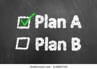 Plan a plan b chalk text on blackboard or chalkboard with green tick check box as successful project management idea concept