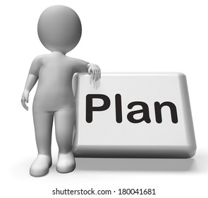 Plan Button With Character Showing Objectives Planning And Organizing