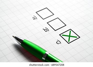 Plan C. Making decision and choice. Exam in school or answering to multiple choice question. Change of plan.