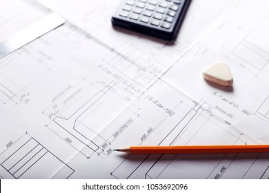 plan - engineering drawing on the table