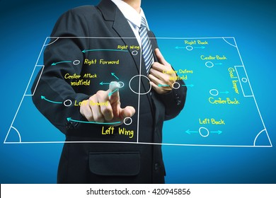 Plan of soccer manager pointing to strategy tactical board