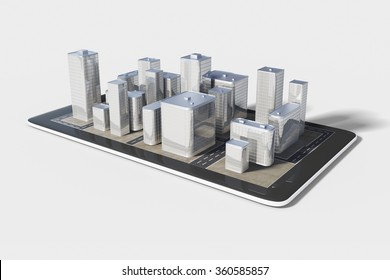 Plan of the urban area in the cell phone