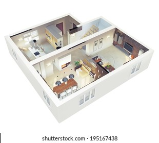 Plan View Of An Apartment.Ground Floor. Clear 3d Interior Design.