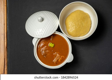 plan view of local ghanaian dish- food concept