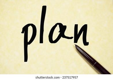 plan word write on paper