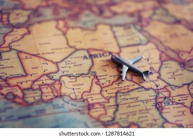Plane aiming to Chad (map). International flights to Chad concept.
