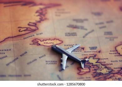 Plane aiming to Iceland (map). International flights to Iceland concept.