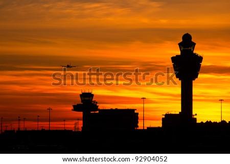 Plane arriving at AmsterdamSchiphol