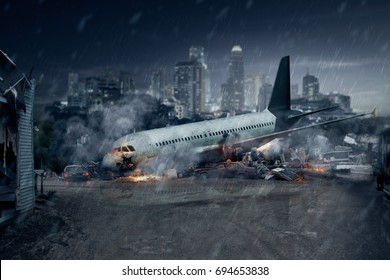 Plane crash, crashed airplane, air accident