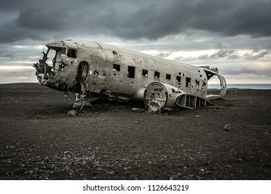 Plane crash site on Iceland beach