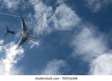 plane fly in blue sky