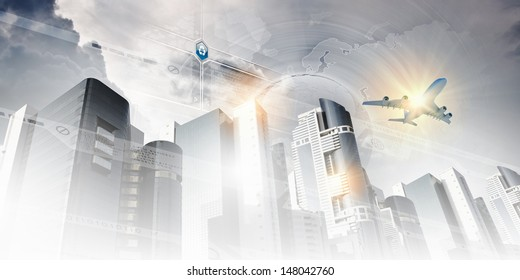 Plane flying above skyscrapers. Business travel concept