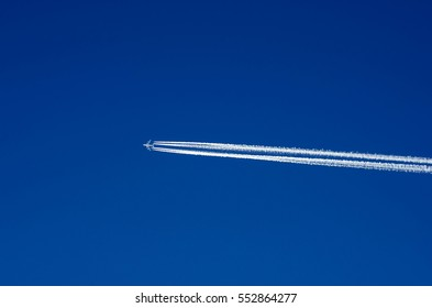 plane flying high in the blue sky