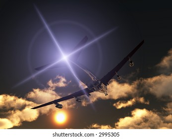 A plane flying high in the sky.