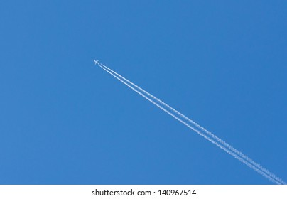 plane is flying on a blue sky