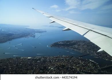 Plane is flying on Istanbul Marmara Sea Turkey