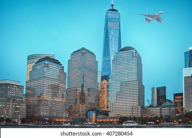 Plane flying over Manhattan