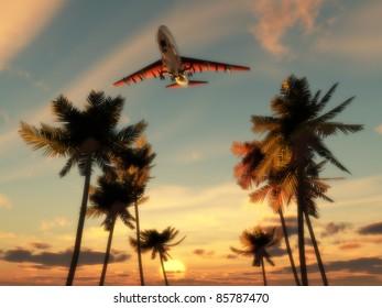 Plane flying over trees