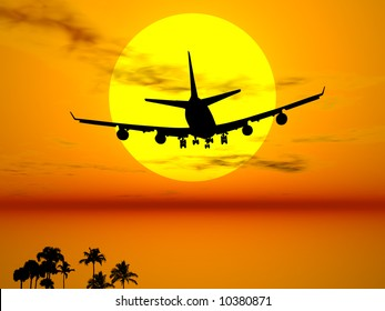 Plane flying in the sun for an exotic travel