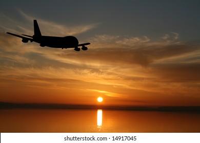 Plane flying towards sunset in ocean illustration