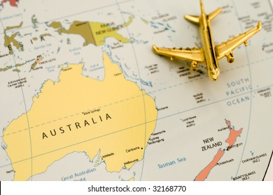 Plane Heading to New Zealand. Map is Royalty Free Off a Government Website.