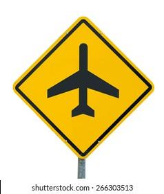 Plane icon yellow road sign on white background