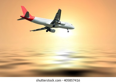The plane was landing on Sunset and sea background.
