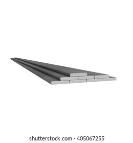 Plane metal rectangular rods at white background