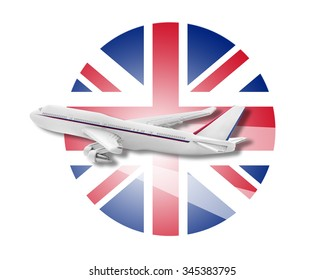 Plane on the background flag of the United Kingdom. Travel concept.