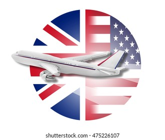 Plane on the background flags of the United States and Great Britain