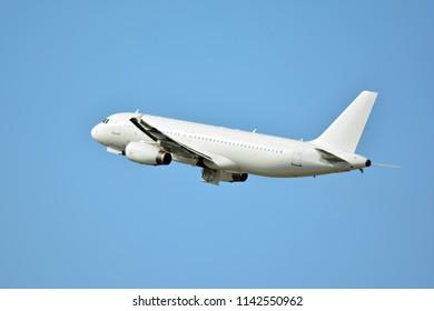 Plane on blue sky