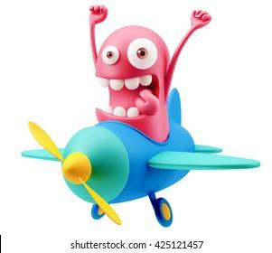 Plane Pilot Emoticon Face. 3d Rendering.